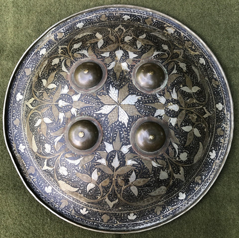An Indian Engraved and Enameled Shield / Buckler