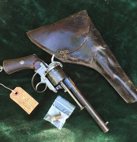 CIVIL WAR Period French 12mm PIN FIRE Revolver by E Le Faucheux