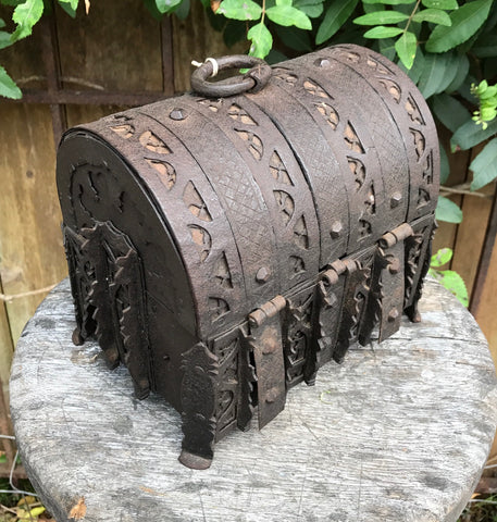 Gothic 15th Century Iron Jewel / Coin Casket Strongbox