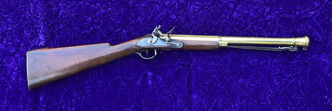 A Good English Brass Barrel Flintlock Blunderbuss with Spring Bayonet by H. NOCK, LONDON