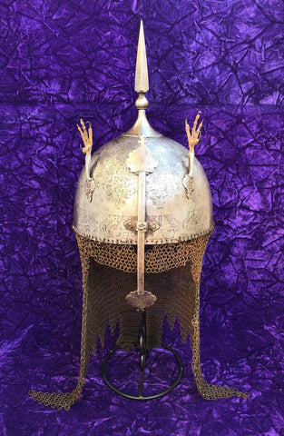 A Fine Heavy Antique Ottoman Empire/Indo-Persian or Indian KULAH KHUD Helmet