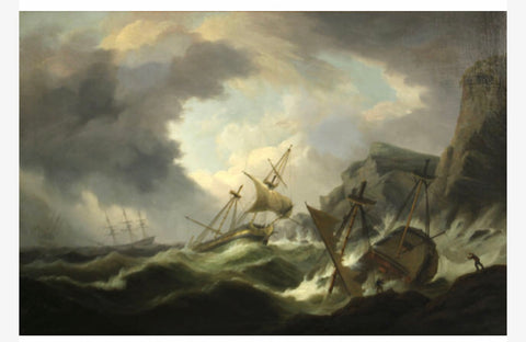 "A Wonderful Antique Original Oil on Canvas Painting ""Perilous Waters"" by, THOMAS LUNY"