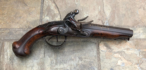 A Good French Double Barrel Flintlock Pistol by DAUPHINE, TULLE