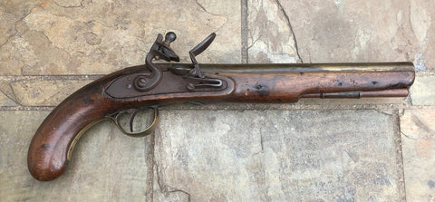 An Untouched Antique English/American Brass Barrel Flintlock Pistol by T. KETLAND & Co.