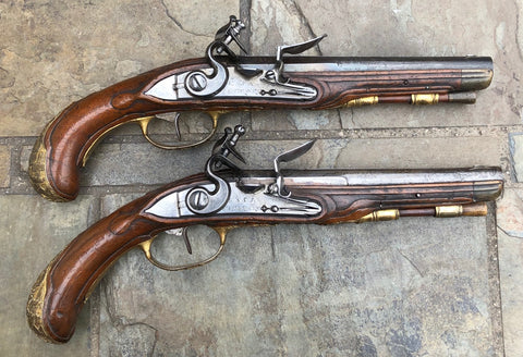 A Good PAIR of Antique German Flintlock Pistols by KUCHENREUTER