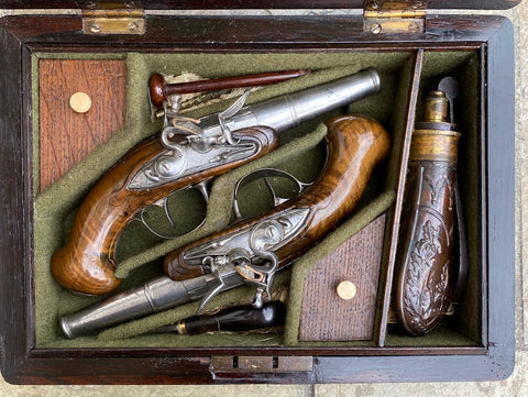 A Fantastic Cased (Pair) of French Flintlock Pocket Pistols
