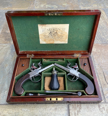 Wonderful Cased Pair of English Flintlock Box-Lock Pistols by WILSON, LONDON