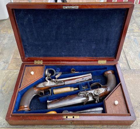 A Cased Pair of French Revolution - Napoleonic War Period Flintlock Officer's Pistols