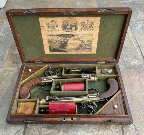 A Fantastic Cased Pair of English Flintlock Box-lock Blunderbuss Pistols by Williams, London