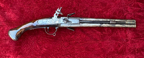 A Rare Large Antique Dutch Flintlock Wender Holster Pistol