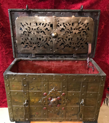 A Fantastic Antique Wrought Iron Treasure Chest/Casket ARMADA BOX/CHEST