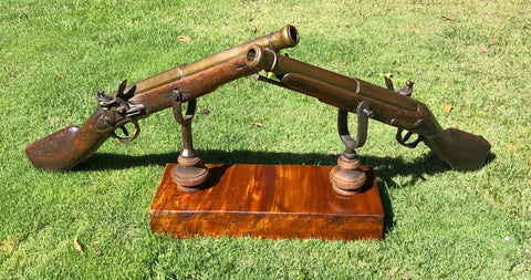 A Remarkably RARE (PAIR) of American Revolutionary War Period Massive French Naval Bronze/Brass Flintlock Swivel Cannons (ESPINGOLE)