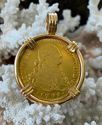 A Wonderful Antique Spanish Old World 1791 Dated 4 Escudos Coin set in a Heavy 14K Gold Bezel