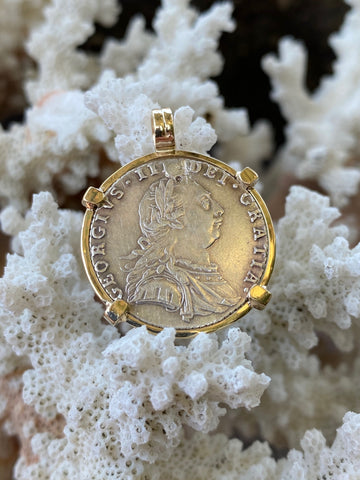 1787 Dated British Silver Sixpence set in 14K Gold Bezel