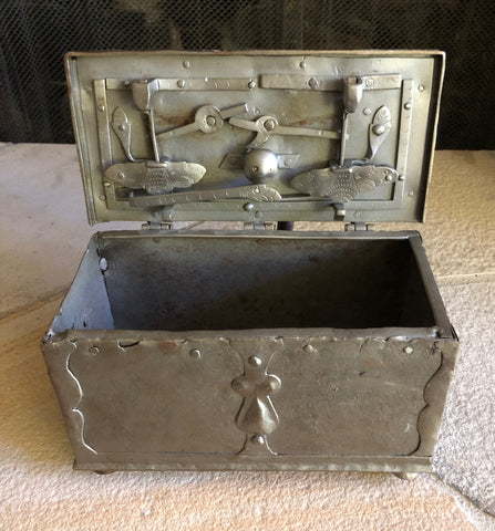 A Wonderful Small Steel Jewelry, Coin or Bullion Treasure Chest/Casket
