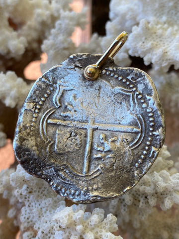 A Wonderful New World Spanish Silver 8 Reales COB, PIECE OF EIGHT Pirate Treasure Coin with 14K Gold Shackle