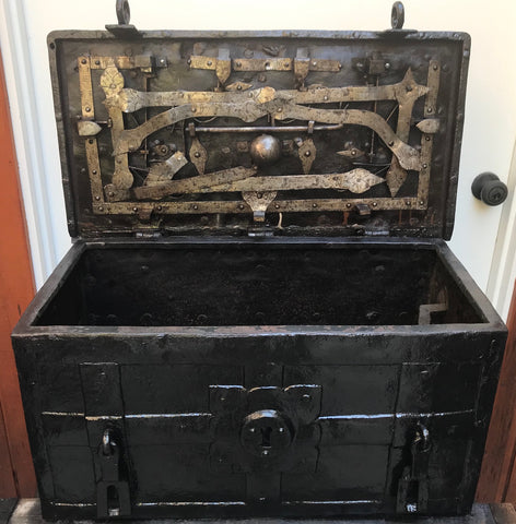 A Good Antique Wrought Iron Treasure Chest/Casket ARMADA BOX/CHEST