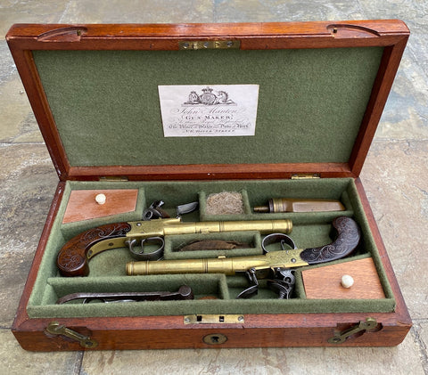 Wonderful Cased Pair of English Flintlock Box-Lock Pistols by KETLAND & Co., LONDON
