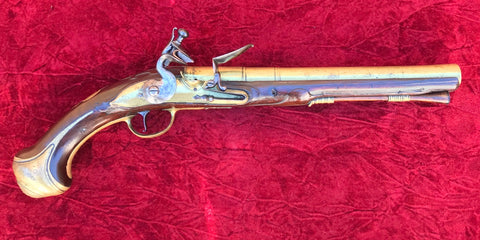 A Rare English Brass Barrel and Lock Flintlock Holster Pistol by, JAMES FREEMAN, LONDINI