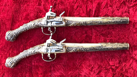 Fantastic PAIR of Turkish or Greek Silver Gilt Stocked Miquelet Kubur Flint Pistols