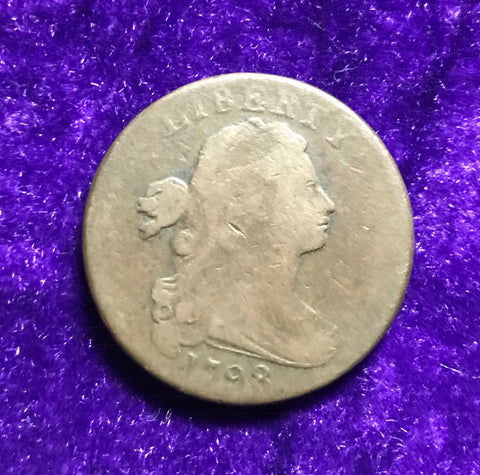 A Rare 1798 U.S. FLOWING HAIR LARGE CENT