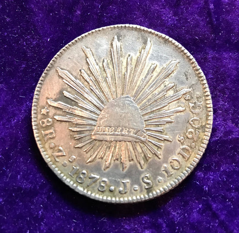 1878 MEXICO SILVER CAP AND RAYS 8 REALES, ZACATECAS MINT,  J, S.