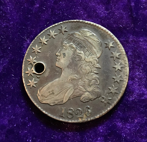 EXCAVATED 1826 U.S. CAPPED BUST SILVER HALF DOLLAR
