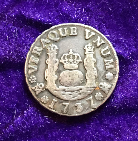 Spanish New World Silver 1737, MEXICO, M, 1 Reale PILLAR Type