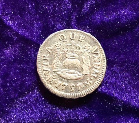 Spanish New World Silver 1757, MEXICO, M, 1/2 Reale PILLAR Type