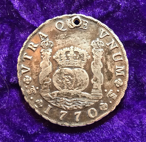 Revolutionary War Period Spanish New World Silver 1770 BOLIVIA  JR, 8 Reales SCREW PRESS PILLAR