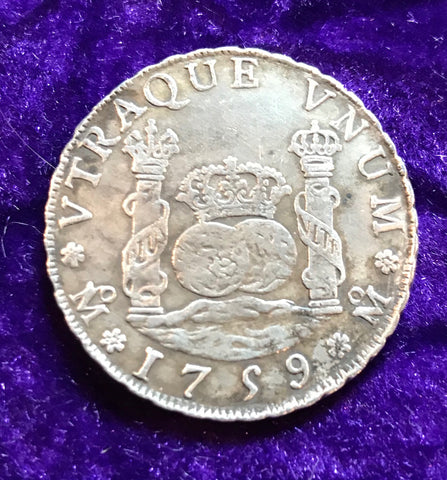 Scarce Spanish New World Silver 1759 MEXICO, MM, 4 Reales PILLAR SCREW PRESS
