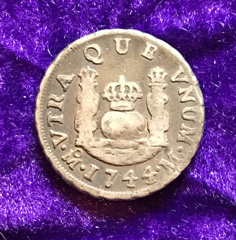 Spanish New World Silver 1744, MEXICO, M, 1 Reale PILLAR Type