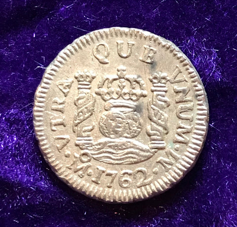 HIGH GRADE Spanish New World Silver 1762, MEXICO, M, 1/2 Reale PILLAR Type