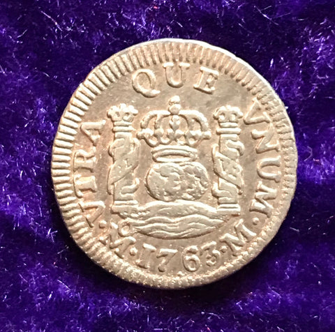 Spanish New World Silver 1763, MEXICO, M, 1/2 Reale PILLAR Type