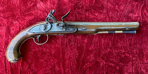 Antique English/Irish Silver Mounted Flintlock Pistol by HUTCHINSON, DUBLIN