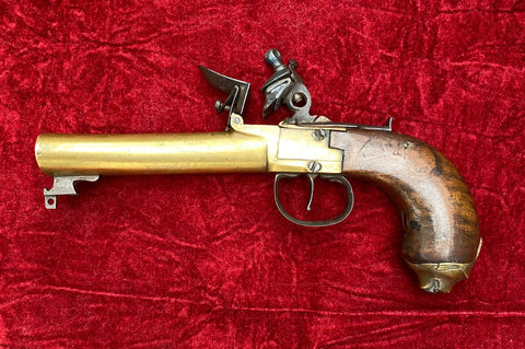 An Antique European Elliptical Brass Barrel Box-lock Flintlock Pistol