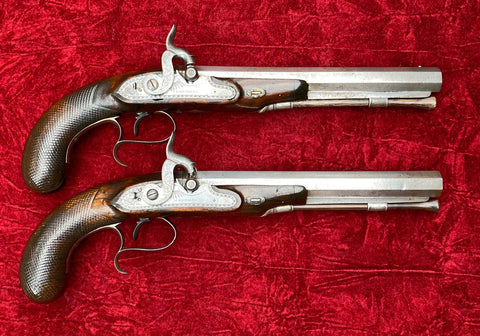 "A Fine Antique PAIR of English Flintlock Dueling Pistols Converted to Percussion Made by ""H. RICHARDS, LATE MORTIMER, LONDON"""