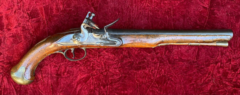 A Good French & Indian War - American Revolutionary War Period British Military Heavy Dragoon Style Flintlock Pistol, R WATKIN, LONDON