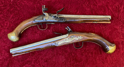 A Rare PAIR/BRACE of British Military Style Flintlock Pistols by RICHARDS