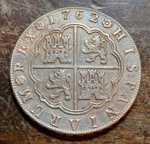 TREASURE !!! A Fantastic 1762 Spanish Old World Silver Screw Press 8 Reales COB, MADRID, CAROLUS III