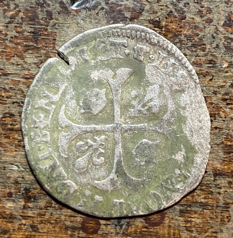 1593 Dauphine (Dolphin) France Silver Douzain Henri IV Rare Medieval French Coin