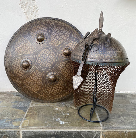 A Great Looking Modern Made Persian/Indian Helmet and Shield