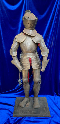 An Antique Victorian Period Miniature Suit of Armor made in the style of the 16th century, made circa. 19th - early 20th century.