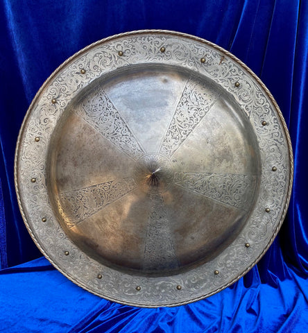 A Beautiful Antique European Victorian Period Etched Steel TARGET/Shield in the style of the 16th Century, made circa. 19th-Early 20th Century