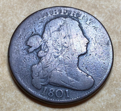 An 1801 U.S. DRAPED BUST LARGE CENT, 1 over 000 ERROR