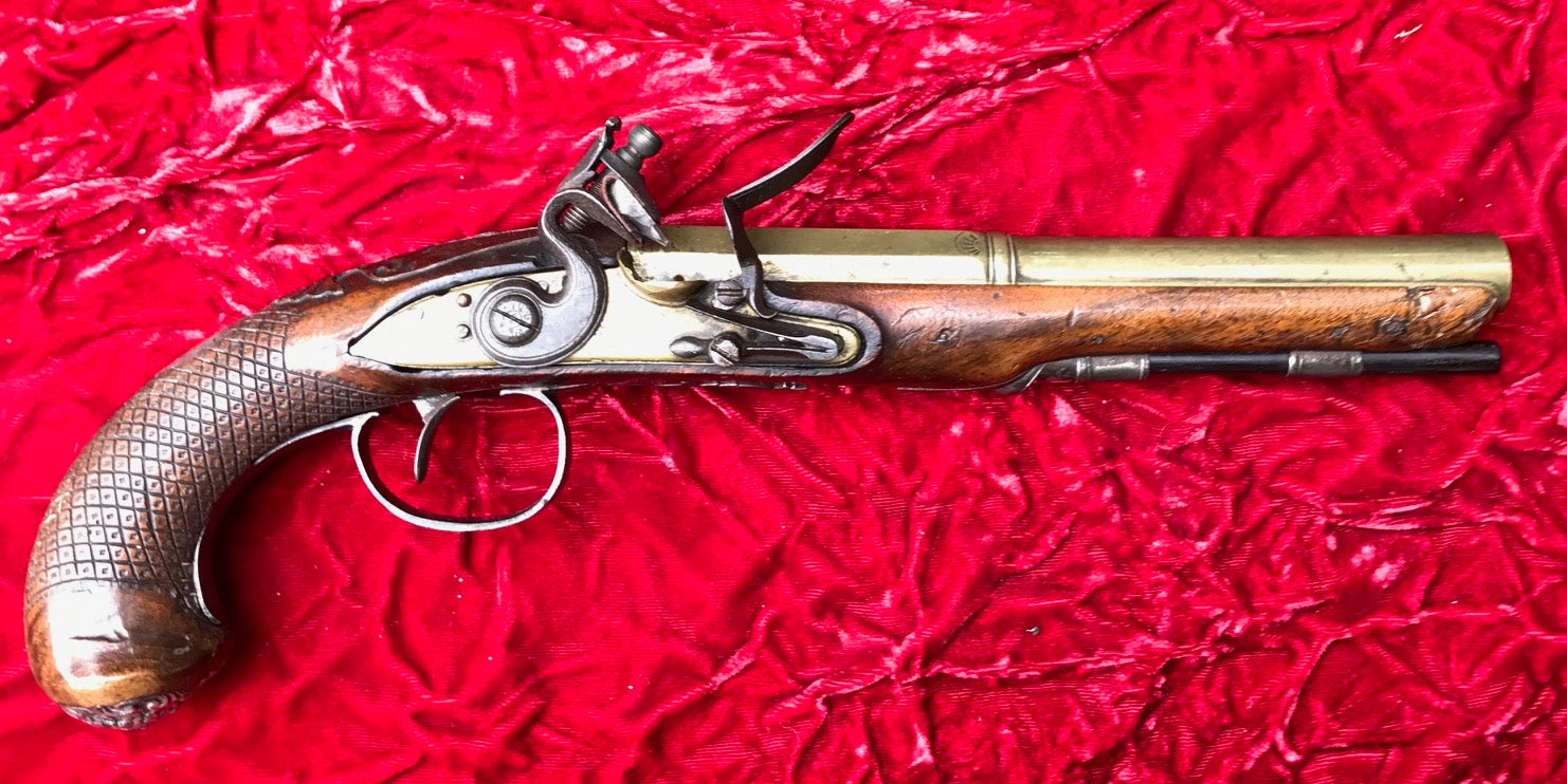 A Wonderful Revolutionary War Period British/American Flintlock Brass  Barrel Flintlock Pistol by KETLAND - Tortuga Trading