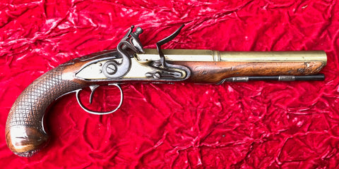 A Wonderful Revolutionary War Period British/American Flintlock Brass Barrel Flintlock Pistol by KETLAND