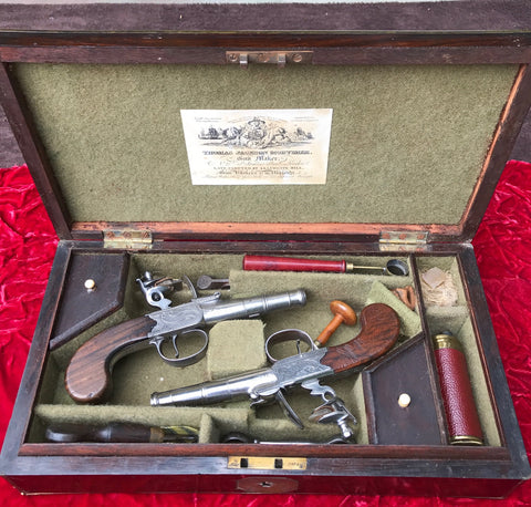 Wonderful Cased Pair of English Flintlock Box-Lock Pistol by HEYLIN, LONDON