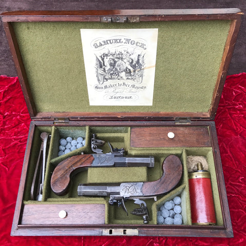 Fantastic Cased Pair of English Flintlock Box-Lock Pistol by H. NOCK, LONDON
