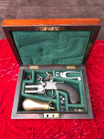 Fantastic High Quality Cased English Over & Under Tap-Action Flintlock Box-Lock Pistol by SALMON, LONDON